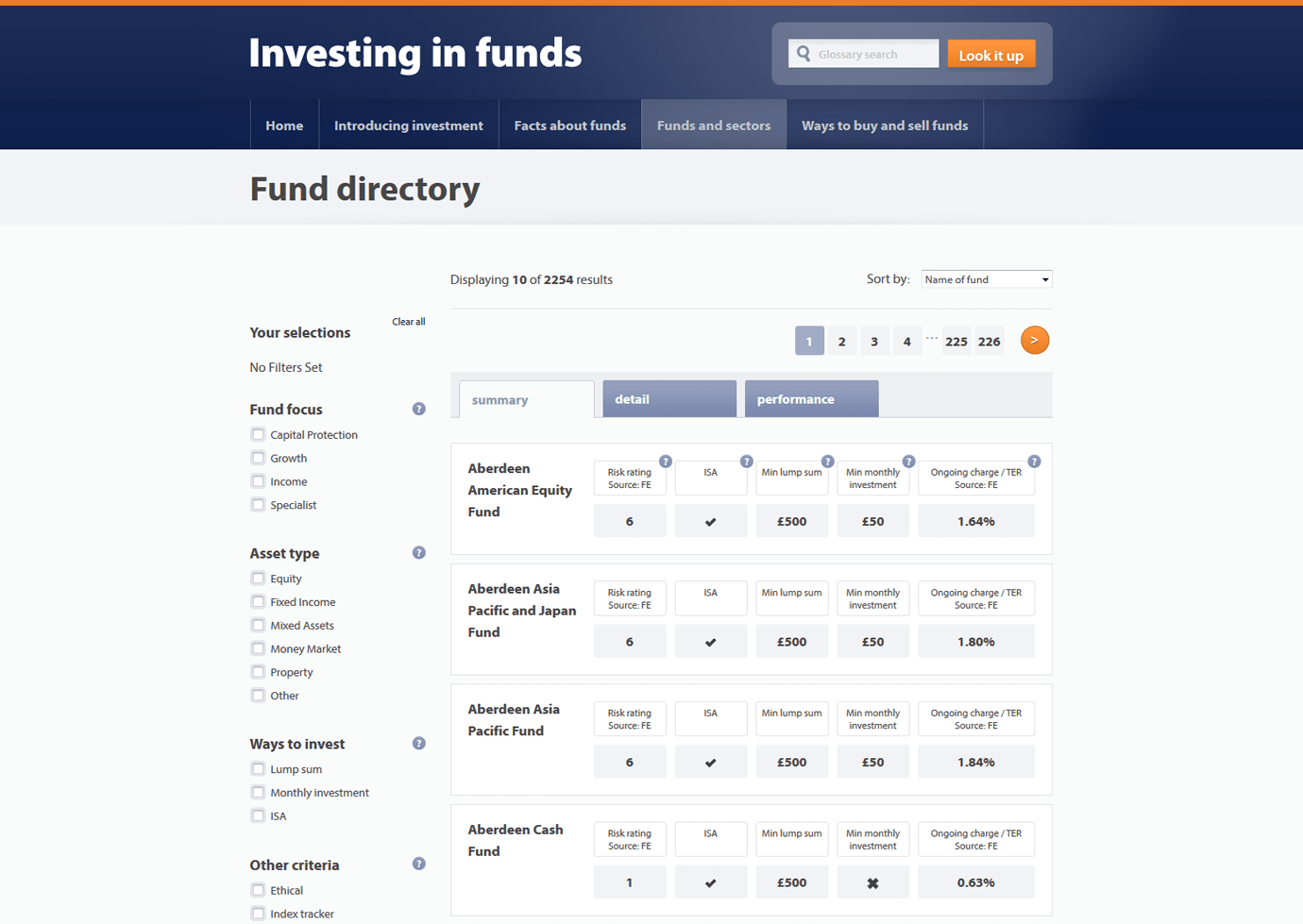 Investing in Funds - Table Madness